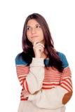 Zadumany przypadkowy dziewczyny główkowanie Zdjęcia Stock