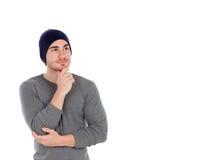 Zadumany umięśniony mężczyzna z wełna kapeluszem Zdjęcie Royalty Free