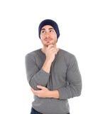 Zadumany umięśniony mężczyzna z wełna kapeluszem Obraz Stock