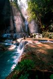 Zadziwiać Kuang Si Spada w Luang Prabang, Laos Doskonalić błękitne wody łączył z pięknym światłem słonecznym i potężnymi zielonym obraz stock