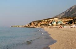 Zadziwiać plaże Dhermi, Albania Zdjęcia Stock