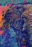 Zadziwia malujący zwierzę Słoń, Maluje Wzór, ogromny kieł sztuka niezwykła ilustracja wektor