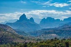Zadziwiający widok blisko Simien gór parka narodowego fotografia stock