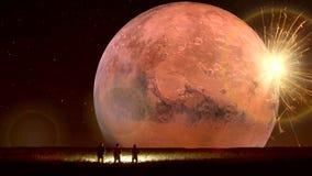 Zadziwiająca fantastyczna ziemska animacja, fantastyczny krajobraz z UFO ilustracja wektor