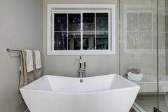 Zadziwiająca mistrzowska łazienka z freestanding balią zdjęcie stock