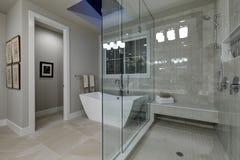 Zadziwiająca mistrzowska łazienka z wielkim szkłem w prysznic fotografia royalty free