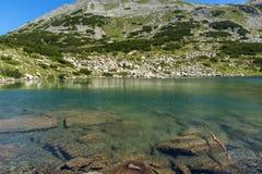 Zadziwiająca panorama Dalgoto Długi jezioro, Pirin góra Obraz Royalty Free