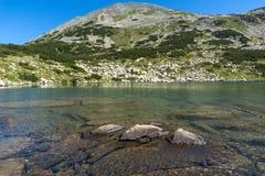Zadziwiająca panorama Dalgoto Długi jezioro, Pirin góra Obrazy Royalty Free