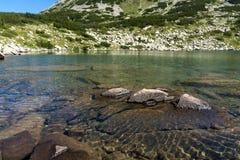 Zadziwiająca panorama Dalgoto Długi jezioro, Pirin góra Zdjęcia Royalty Free