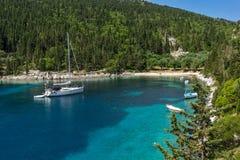 Zadziwiająca panorama Fok Fiskardo plaża, Kefalonia, Grecja Zdjęcia Stock