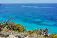 Zadziwiająca panorama Kokkinos Vrachos plaża, Lefkada, Grecja Obrazy Royalty Free