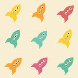 Zadziwiającego bezszwowego rocznika kosmosu kolorowy rakietowy wzór Zdjęcia Stock