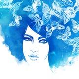 Zadziwiający akwarela portret piękne kobiety Fotografia Royalty Free