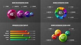 Zadziwiający biznesowych dane prętowej mapy projekta horyzontalny układ Kolorowych 3D piłek korporacyjnych statystyk infographic  royalty ilustracja