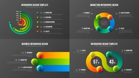 Zadziwiający biznesowych dane projekta układu promieniowy prętowy plik Kolorowych realistycznych 3D piłek korporacyjnych statysty ilustracji