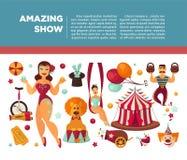 Zadziwiający cyrkowy promo plakat z uczestnikami przedstawienie i wyposażenie ilustracji