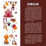 Zadziwiający cyrkowy promo plakat z uczestnikami przedstawienie i wyposażenie ilustracja wektor