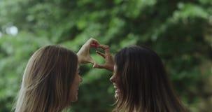 Zadziwiający dwa dziewczyny z pięknym uśmiechem, robi dużemu sercu od ręk zbiory wideo