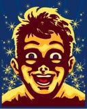 Zadziwiający dzieciak zaskakiwał twarz, magiczna rocznika wektoru ilustracja ilustracji