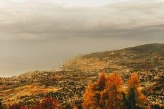 Zadziwiający jesień krajobraz Lavaux winnicy Obraz Stock