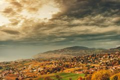 Zadziwiający jesień krajobraz Lavaux winnicy Zdjęcia Royalty Free