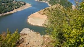 Zadziwiający krajobraz Arda Rzeczny meander i Kardzhali rezerwuar fotografia royalty free