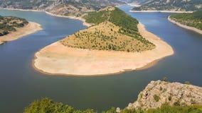 Zadziwiający krajobraz Arda Rzeczny meander i Kardzhali rezerwuar obrazy royalty free