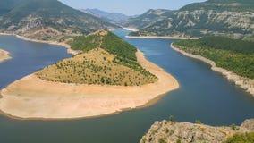Zadziwiający krajobraz Arda Rzeczny meander i Kardzhali rezerwuar obraz stock