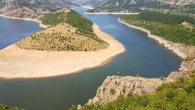 Zadziwiający krajobraz Arda Rzeczny meander i Kardzhali rezerwuar fotografia stock