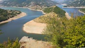 Zadziwiający krajobraz Arda Rzeczny meander i Kardzhali rezerwuar zdjęcie royalty free