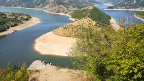 Zadziwiający krajobraz Arda Rzeczny meander i Kardzhali rezerwuar obraz royalty free