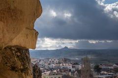Zadziwiający krajobrazy z skałami i skały w Cappadocia, Turcja, kocha i odwiedza turystami od światu po całym Obrazy Stock