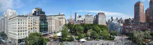 Zadziwiający panoramiczny widok z lotu ptaka Union Square przy Miasto Nowy Jork USA obrazy royalty free