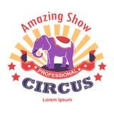 Zadziwiający przedstawienie cyrk z wyszkolonymi zwierzętami odizolowywał ikonę ilustracja wektor