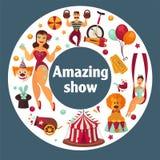 Zadziwiający przedstawienie przy sławnym wielkim cyrkowym promo plakatem ilustracja wektor