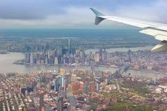 Zadziwiający strzał Miasto Nowy Jork strzelał od samolotu Zdjęcie Stock
