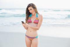 Zadziwiający szczupły brown z włosami model w coloured bikini patrzeje jej telefon komórkowego Obrazy Royalty Free