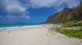 Zadziwiający Tropikalny Kailua plaży park Oahu Hawaje obrazy stock