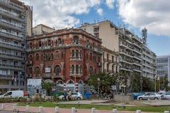 Zadziwiający widok Agia Sofia kwadrat w mieście Saloniki, Środkowy Macedonia, Grecja Fotografia Royalty Free