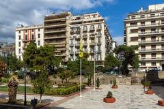 Zadziwiający widok Agia Sofia kwadrat w mieście Saloniki, Środkowy Macedonia, Grecja Zdjęcie Stock