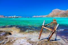 Zadziwiający widok Balos laguna z magicznym turkusem nawadnia, laguny, tropikalne plaże zdjęcia royalty free