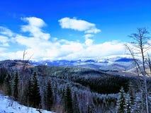 Zadziwiający widok górski w ośrodku narciarskim Bukovel, Carpathians, Ukraina obrazy stock
