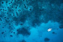 Zadziwiający widok jachtu żeglowanie w otwartym morzu ptaki zdjęcia stock