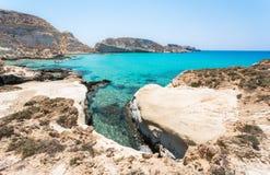 Zadziwiający widok Koufonisi wyspa z magicznym turkusem nawadnia, laguny, tropikalne plaże czysty biały piasek obrazy royalty free