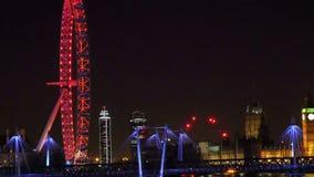 Zadziwiający widok Londyński oko przy nocą zdjęcie wideo