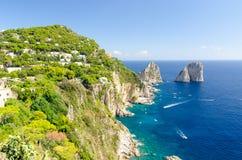 Zadziwiający widok na Capri wyspie, Campania, Włochy Fotografia Royalty Free