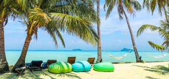Zadziwiający widok piękna plaża z drzewkami palmowymi, bonkrety, Fotografia Royalty Free