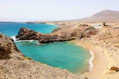 Zadziwiający widok Playa Papagayo plaża, Lanzarote, wyspy kanaryjska zdjęcie royalty free