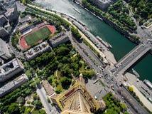 Zadziwiający widok z lotu ptaka Paryż z widok z lotu ptaka od wieży eifla Obraz Stock