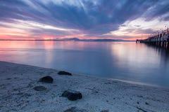 Zadziwiający wschód słońca i zmierzch w George Town, Penang fotografia stock